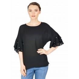 Bluza neagra casual cu perle maneca 862 NG