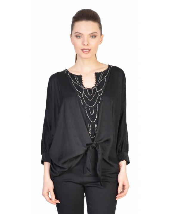 Bluza neagra cu maneca sparta 1157 NG