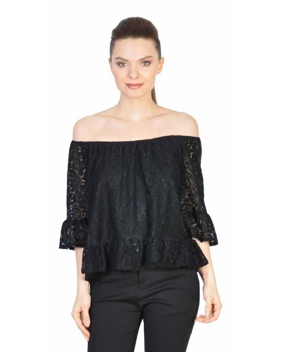 Bluza neagra din dantela cu maneca trei sferturi 5373 NG