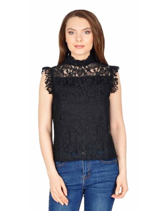 Bluza neagra din dantela florala 17601 NG