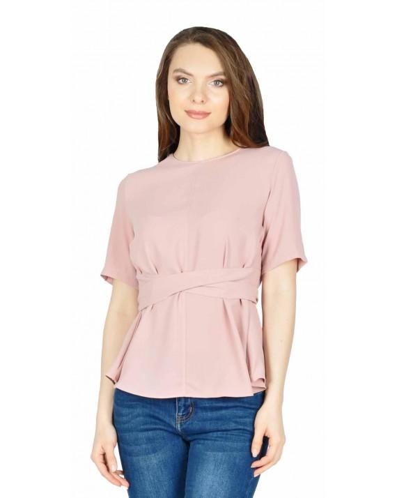 Bluza office roz pudra cu maneca scurta W2403R
