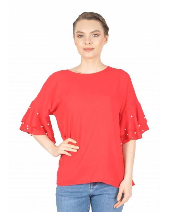 Bluza rosie casual cu perle maneca 862 R