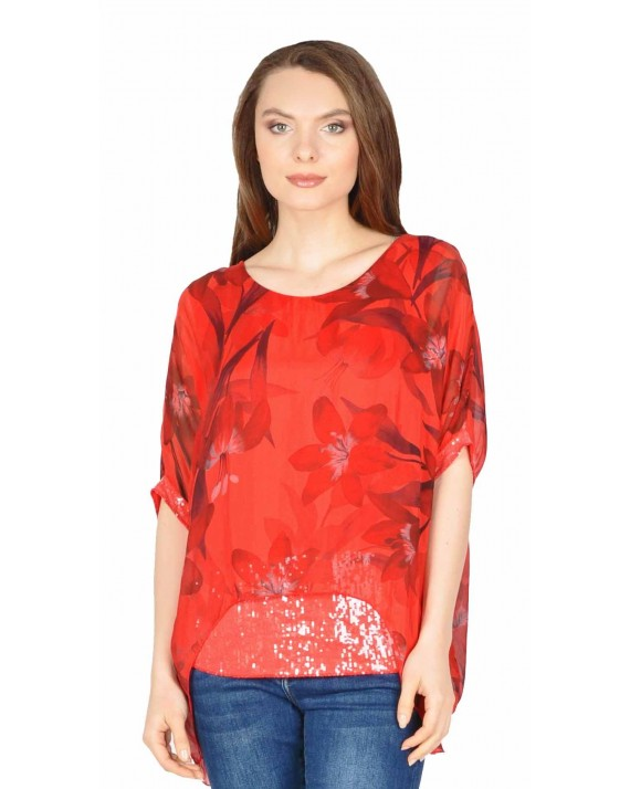Bluza rosie eleganta din matase cu crini 0015197 R
