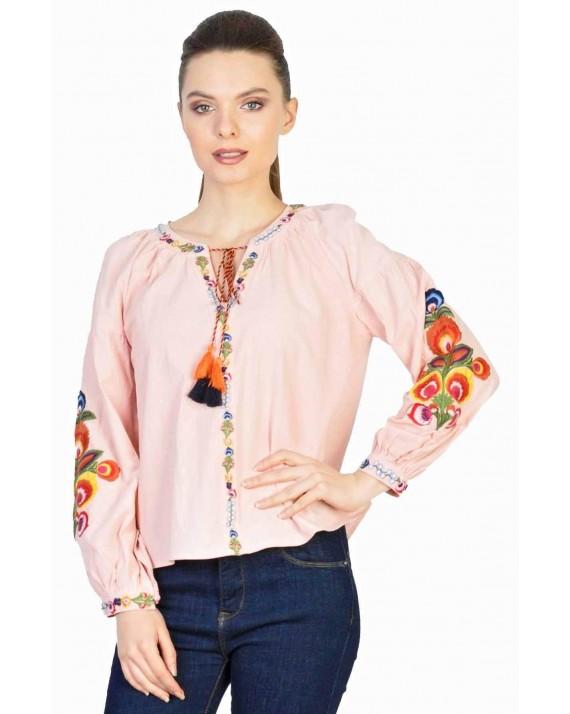 Bluza roz casual cu broderie colorata 020 RZ