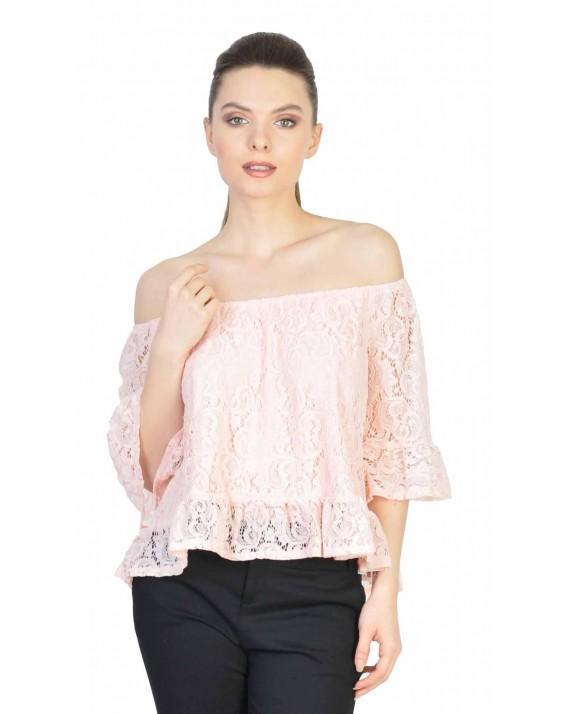 Bluza roz din dantela cu maneca trei sferturi 5373 R