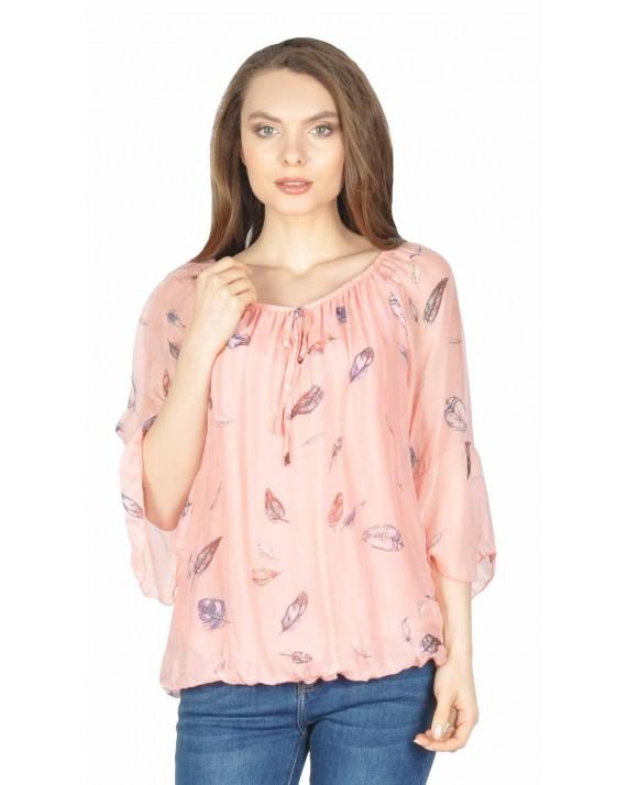 Bluza roz eleganta cu imprimeu pene 08173 R