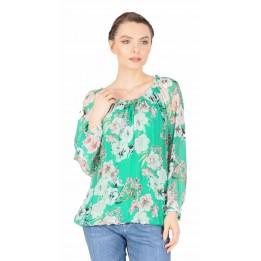 Bluza verde din matase cu print floral 08233 V