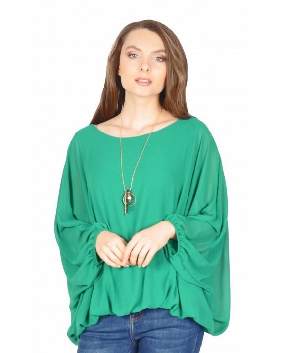 Bluza verde din voal cu maneca fluture 8702 V