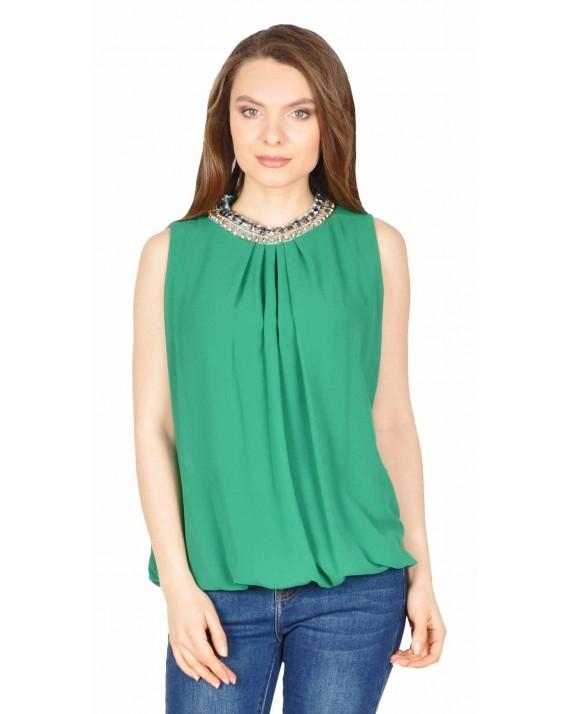 Bluza verde eleganta cu accesoriu decolteu 1876V
