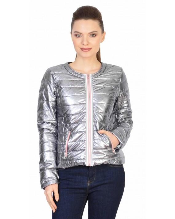 Jacheta casual argintie cu aspect metalic 18078 AG