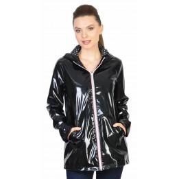 Jacheta casual neagra din latex cu gluga 18075 NG