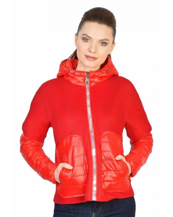 Jacheta dama casual rosie cu gluga 8130 R