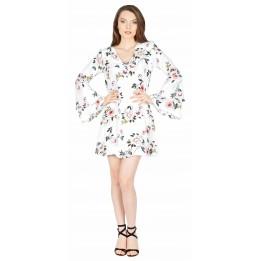 Rochie alba din voal cu flori si fluturi 2696A