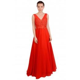 Rochie de ocazie rosie lunga cu broderie bust 8503 R