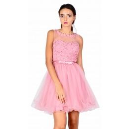 Rochie de ocazie roz cu flori si perle aplicate 8168R