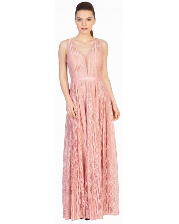 Rochie de ocazie roz lunga cu dantela W1147-1 R