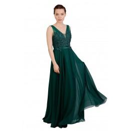Rochie de ocazie verde lunga cu dantela bust 8503 V
