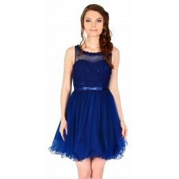 Rochie de seara bleumarin cu flori si perle aplicate 8168BM