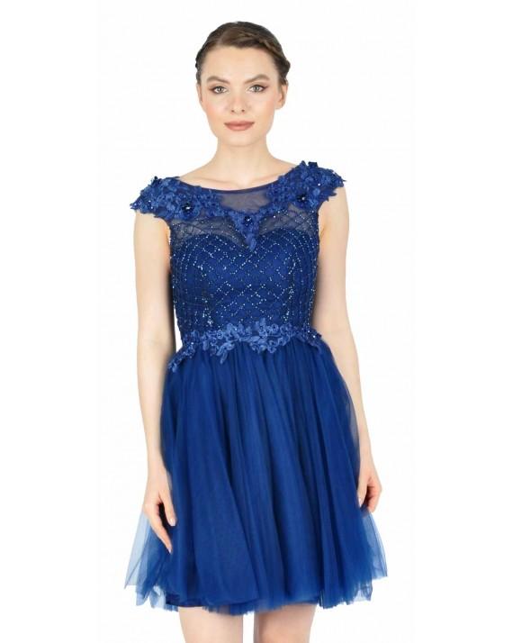 Rochie de seara bleumarin cu tull si broderie 8602 BM