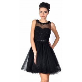 Rochie de seara neagra cu flori si perle aplicate 8168 N