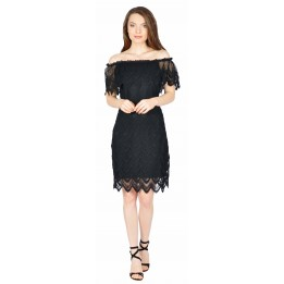 Rochie de seara neagra din dantela brodata 5199 N