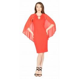 Rochie de seara rosie cu maneca decupata BC154 R