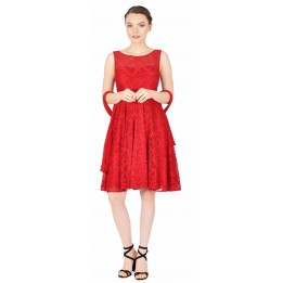Rochie de seara rosie din dantela florala 8136 R