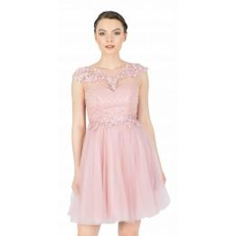 Rochie de seara roz cu tull si broderie 8602 R