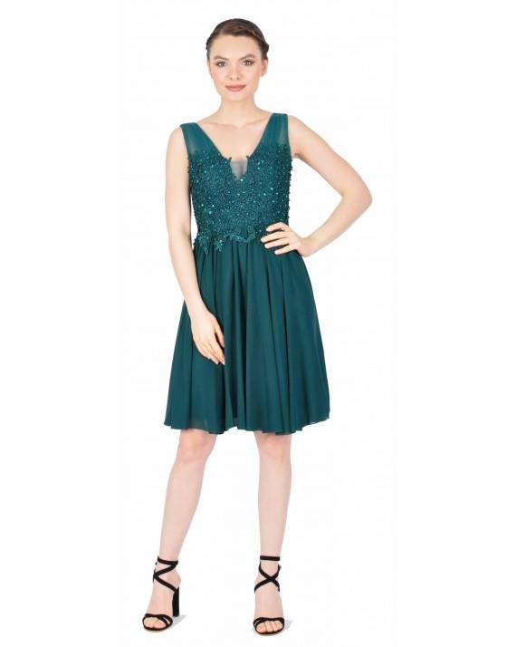 Rochie de seara verde cu broderie aplicata 8675 V