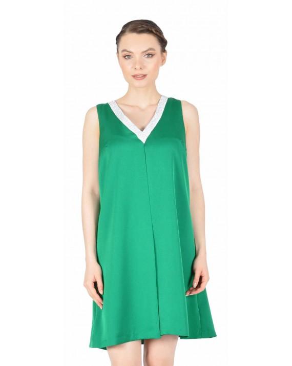 Rochie de seara verde smarald cu strasuri 6552 V