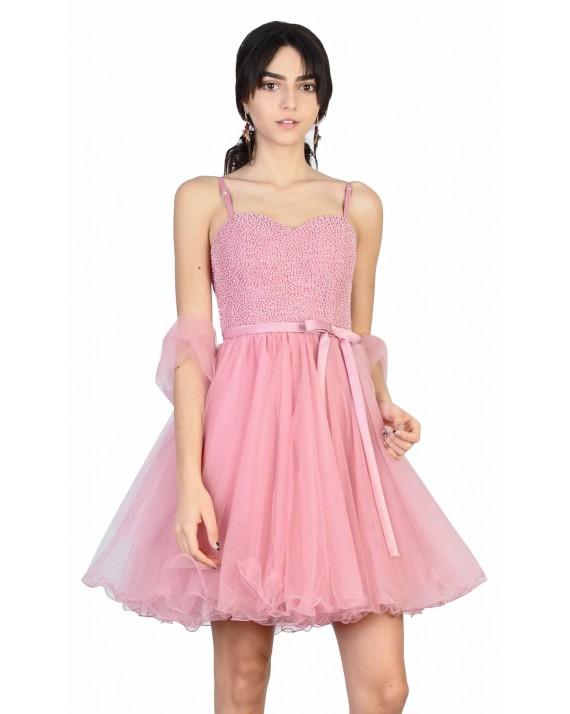 Rochie Diva baby doll de seara roz cu perle aplicate 8583 ROZ I