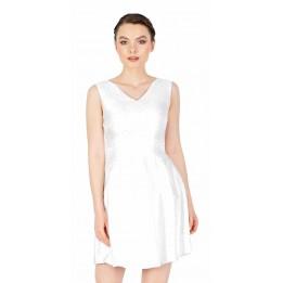 Rochie eleganta alba din brocart X5107 A