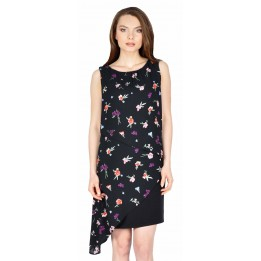 Rochie eleganta neagra cu print floral BC161 N/FL