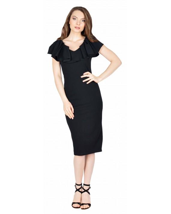 Rochie eleganta neagra model cambrat W1627
