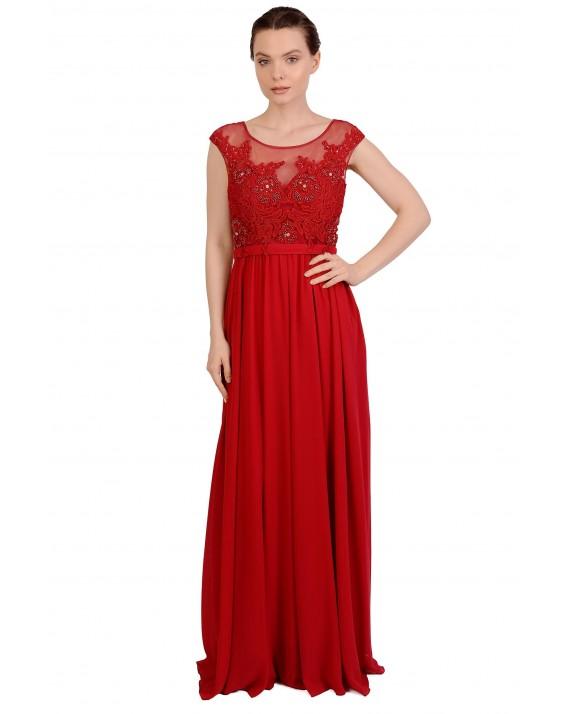 Rochie lunga rosie de ocazie cu broderie aplicata 1791 R