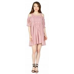 Rochie tunica roz cu broderie aplicata 9216 R