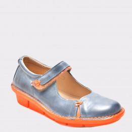 Pantofi albastri, 3054, din piele naturala