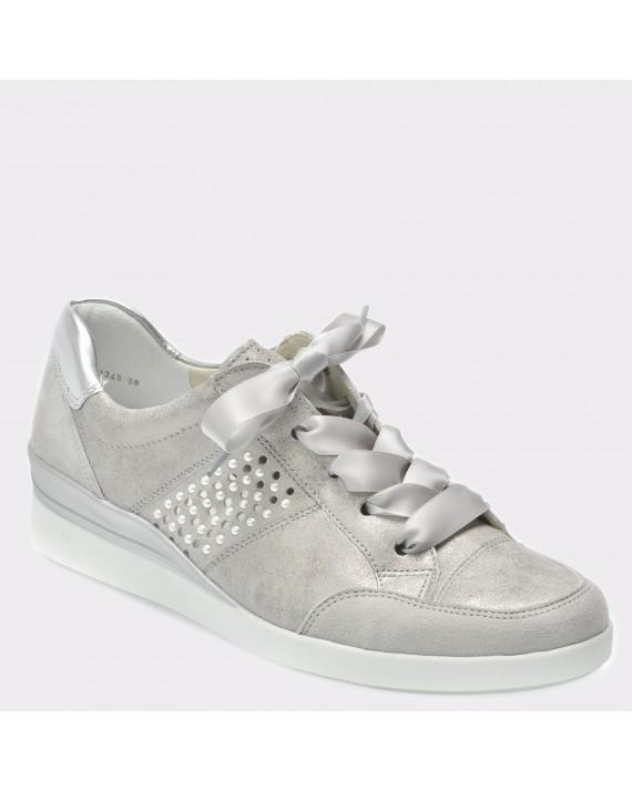 Pantofi ARA argintii, 33345, din piele intoarsa
