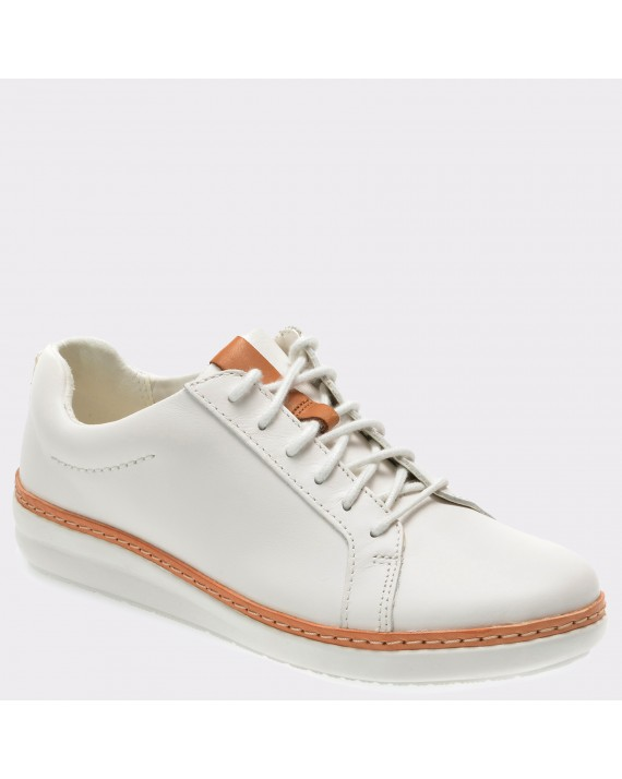 Pantofi CLARKS albi, 6132659, din piele naturala