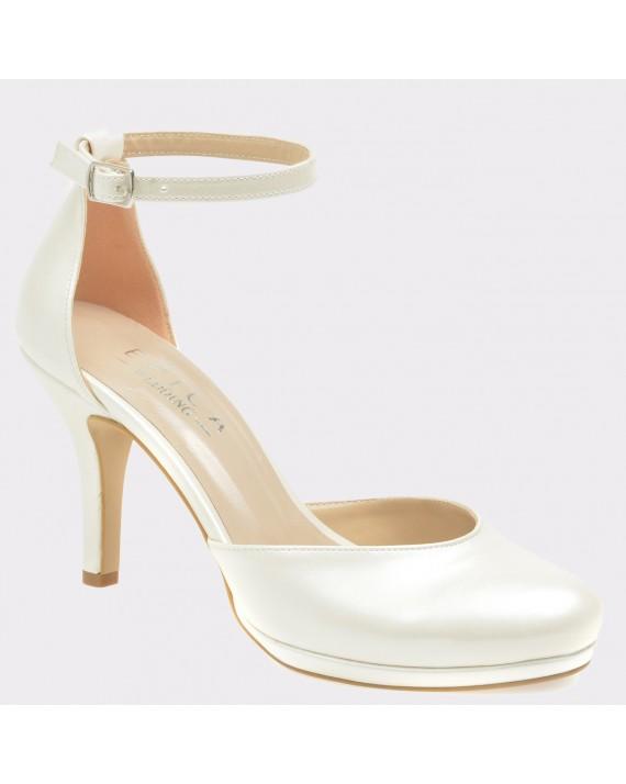 Pantofi EPICA albi pentru mireasa, 392, din piele ecologica