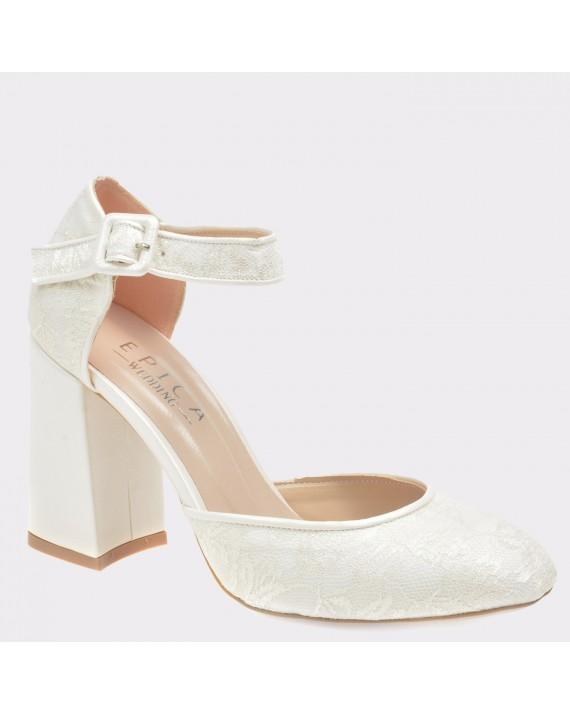 Pantofi EPICA albi pentru mireasa, 498, din piele ecologica