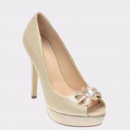 Pantofi EPICA aurii, R9435, din piele ecologica