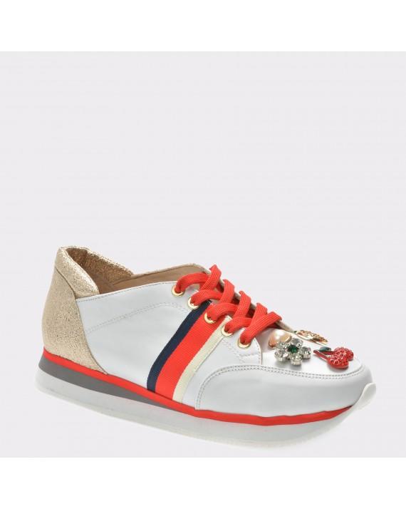 Pantofi FLAVIA PASSINI albi, 1831, din piele naturala