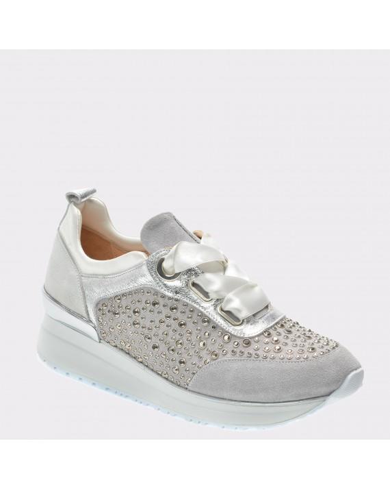 Pantofi FLAVIA PASSINI argintii, 6127, din piele intoarsa