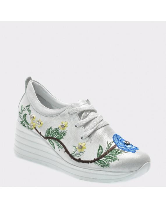 Pantofi FLAVIA PASSINI argintii, Bls405, din piele naturala