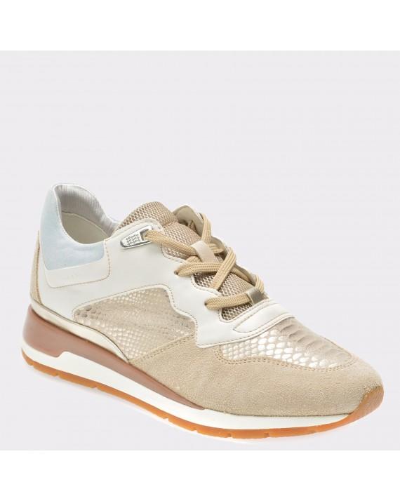 Pantofi sport GEOX crem, D62N1B, din piele intoarsa