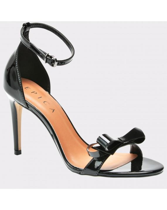 Sandale EPICA negre, 1242007, din piele ecologica lacuita