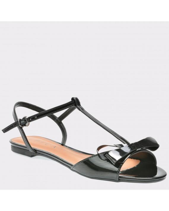 Sandale EPICA negre, 1254006, din piele ecologica lacuita