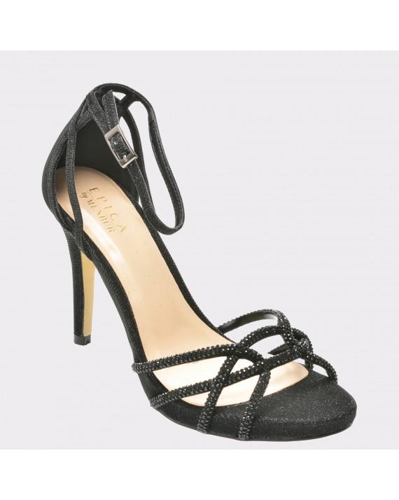 Sandale EPICA negre, R9271, din material textil