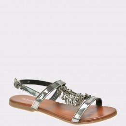 Sandale IMAGE argintii, Bse9643, din piele ecologica lacuita